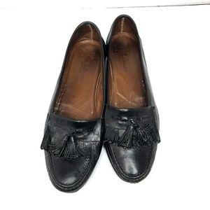 Cole Haan leather tassel black kilt loafers 9.5 W